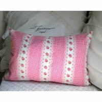 Vintage,Kissenbezug -HEIDI-, Rosenkissen, rosa Dekokissen aus Vintage Bauernstoff mit Rosenmuster in tollen Farben. Bild 1