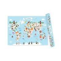 Kinderweltkarte - Weltkarte für Kinder auf Deutsch - XXL Kinder Atlas Poster - Lernposter Kinderzimmer - große Tierweltkarte für Kinder Bild 1