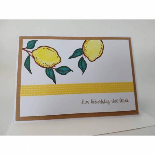 Geburtstagskarte Zitronen coloriert