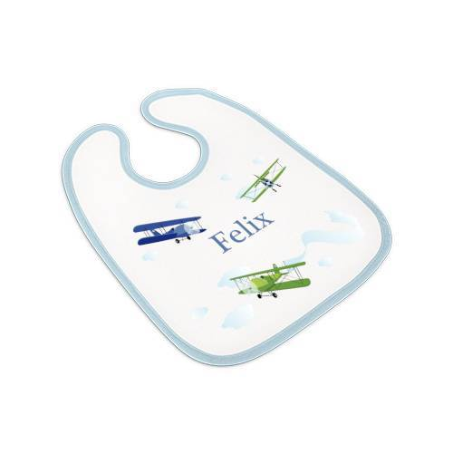 Lätzchen blau, Babylätzchen Jungen mit Namen, Motiv Flugzeuge