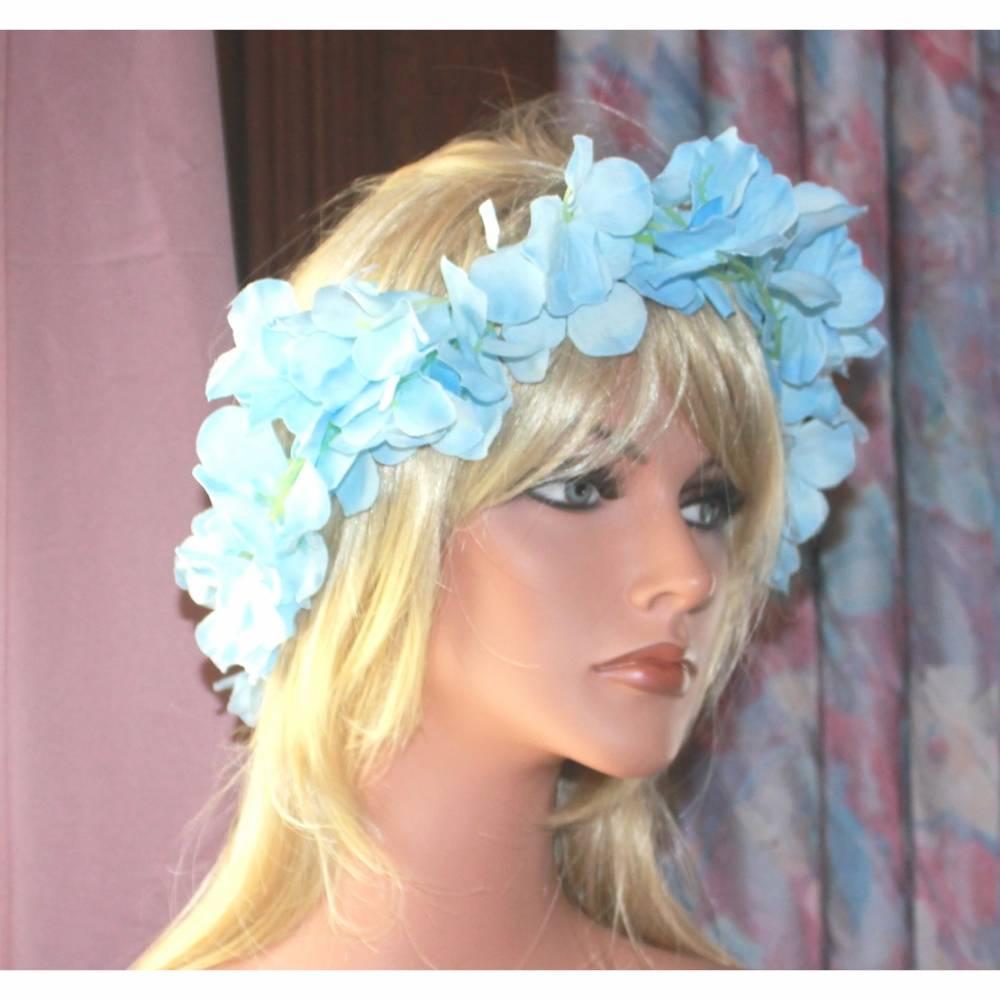 Blütenkranz Haarband Haarreifen hellblau Kopfschmuck Accessoire Satinbänder Frühling, Haarschmuck Kranz für s Haar Bild 1
