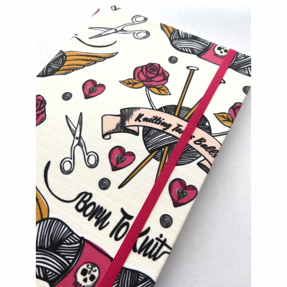 "Notizbuch Tagebuch Projektbuch ""Born to knit"" Blanko A5 Hardcover Motiv Stricken Wolle Nadeln Tattoostyle Hobby Handmade DIY Handarbeit  Bild 1"