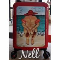 """Koffer ( Trolley) Rot     """"Wer nackt badet...braucht keine Bikinifigur"""" Bild 1"""