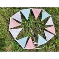 Wimpelkette / Girlande mit aus 100 % Baumwolle in weiß mint Türkis rosa mit Flamingos, Blumen und Ananas Bild 1
