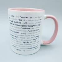 Tasse Strickbegriffe englisch und deutsch (Stricken) - in verschiedenen Farben möglich - Kaffeetasse - Kaffeebecher - Becher Bild 1