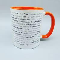 Tasse Strickbegriffe englisch und deutsch (Stricken) - in verschiedenen Farben möglich - Kaffeetasse - Kaffeebecher - Becher Bild 10