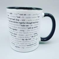 Tasse Strickbegriffe englisch und deutsch (Stricken) - in verschiedenen Farben möglich - Kaffeetasse - Kaffeebecher - Becher Bild 6