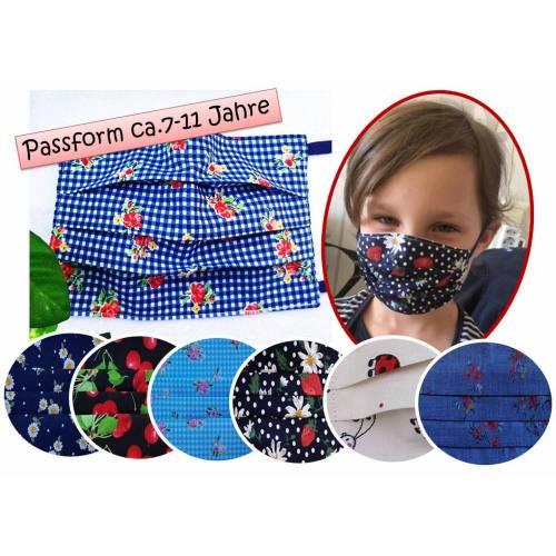 Behelfsmundschutz für Kinder von ca.7 bis ca.11 Jahren,zweilagig, mit Metallstreifen für Brillenträger,Käfer/Blumen,Erzgebirge