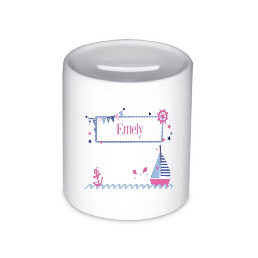 Spardose mit Namen für Kinder, Mädchen, Motiv Segelboot pink Bild 1
