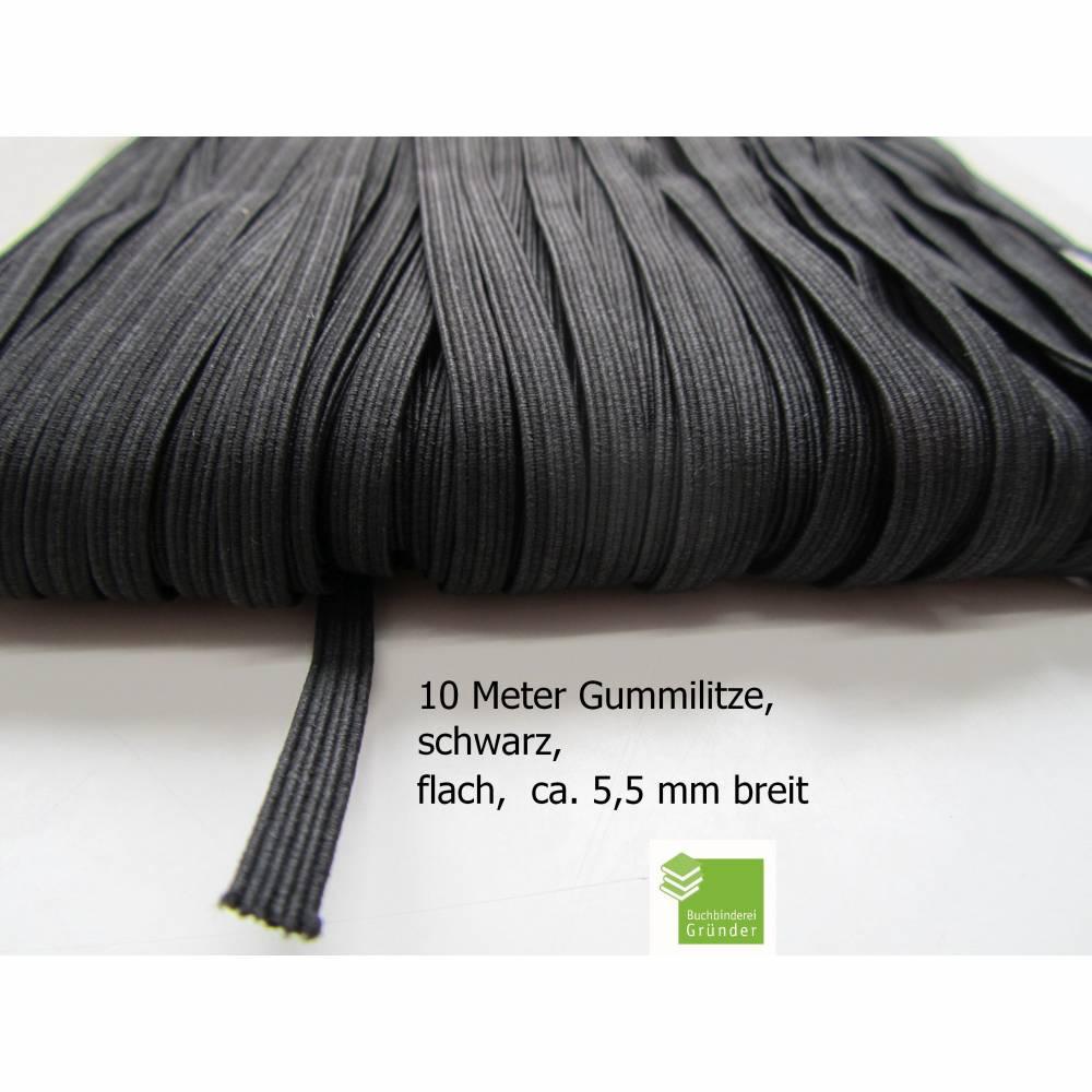 10 m Gummiband, schwarz, flach, 5 mm, Elastikband, Bastelmaterial Bild 1