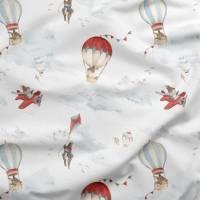 Baumwollstoff fliegende Hasen im Ballon Kaninchen Flugzeuge Kinderstoff Baumwolle Meterware Vorhänge Kissen nähen Quilt Stoff Patchworkstoff  Bild 1