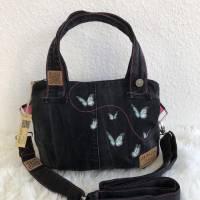 schwarze Handtasche PussyBag Umhängetasche / Schultertasche / Beuteltasche | Jeans Upcycling / Recycling, AichelBag Bild 1
