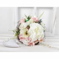 Brautstrauß künstlich, creme rosa, Hochzeitsaccessoires, Braut Strauss, Brautbouquet Bild 1