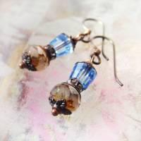 Antikperlen Ohrringe blaue Laterne - hypoallergene Niob Ohrhänger Bild 1