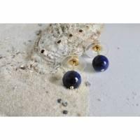 Blaue Ohrstecker aus Lapislazuli mit Gold Bild 1