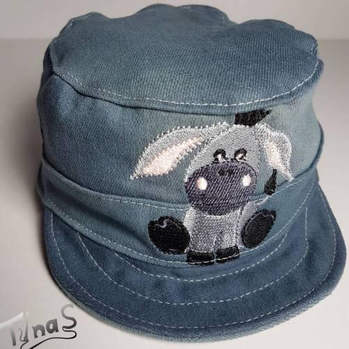 Baby Kinder coole Sonnenkappe Mütze, aus weichem Jeans mit Esel Stickerei, für Kopfumfang 44-46