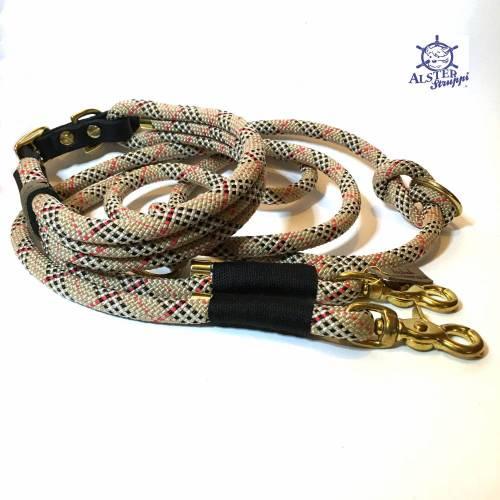Leine Halsband Set beige rot schwarz weiß , auch für kleine Hunde, verstellbar
