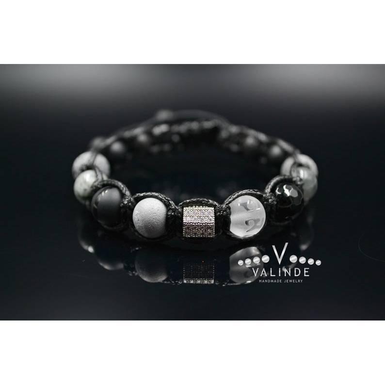 Herren Armband aus Edelsteinen Falkenauge Onyx Achat Quarz Lava und Zirkonia, Geschenk für Mann, LIMITED EDITION, 10 mm Bild 1