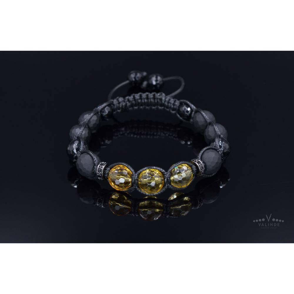 Herren Armband aus Edelsteinen Citrin Onyx Achat und Zirkonia, Geschenk für Mann, LIMITED EDITION, 10 mm Bild 1