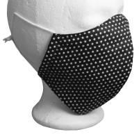 Mund Nasen Maske Behelfsmaske Nasenbügel Schwarz Sterne