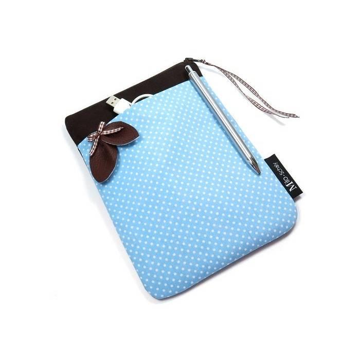 """Tablet Hülle 7"""" Extrafach Tasche Reißverschluss hellblau weiß braun Einzelstück Bild 1"""