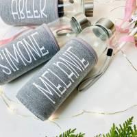 Trinkflasche aus Glas mit Neoprenbezug, Geschenk für Erzieherin / Tagesmutter Bild 2