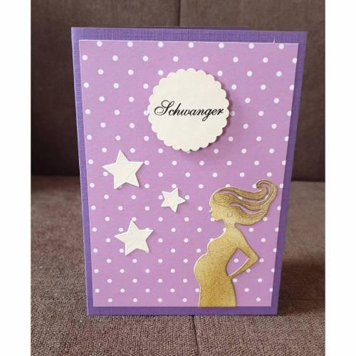 """Glückwunschkarte """" Schwanger """"  Sterne , Frau mit Babybauch"""