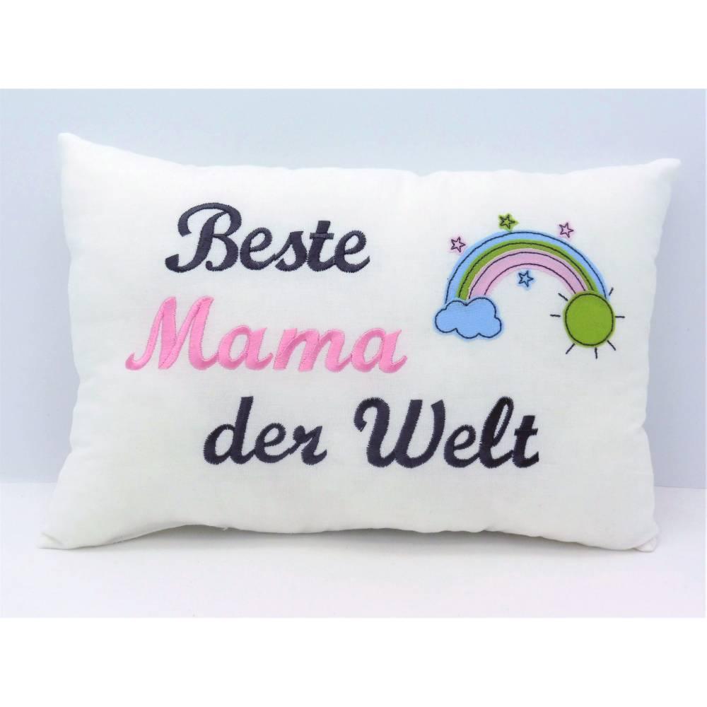 Beste Mama der Welt besticktes Kissen für Oma Mama Freundin Lehrerin Geschenk Geburtstag Namenstag versch. Farben möglich Bild 1