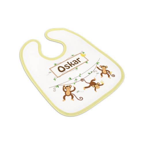 Lätzchen gelb, Babylätzchen Jungen mit Namen, Motiv Affen Bild 1