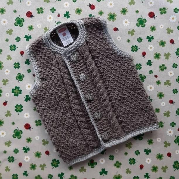Trachtenweste Größe 86/92 braun grau weste gestrickt mit zopfmuster pullunder für junge trachtenmode für kinder strickjacke strickweste Bild 1