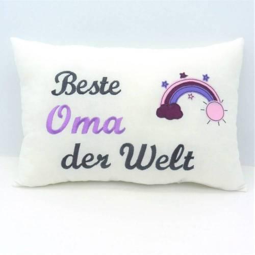 Beste Oma der Welt besticktes Kissen für Oma Mama Freundin Lehrerin Geschenk Geburtstag Namenstag versch. Farben möglich