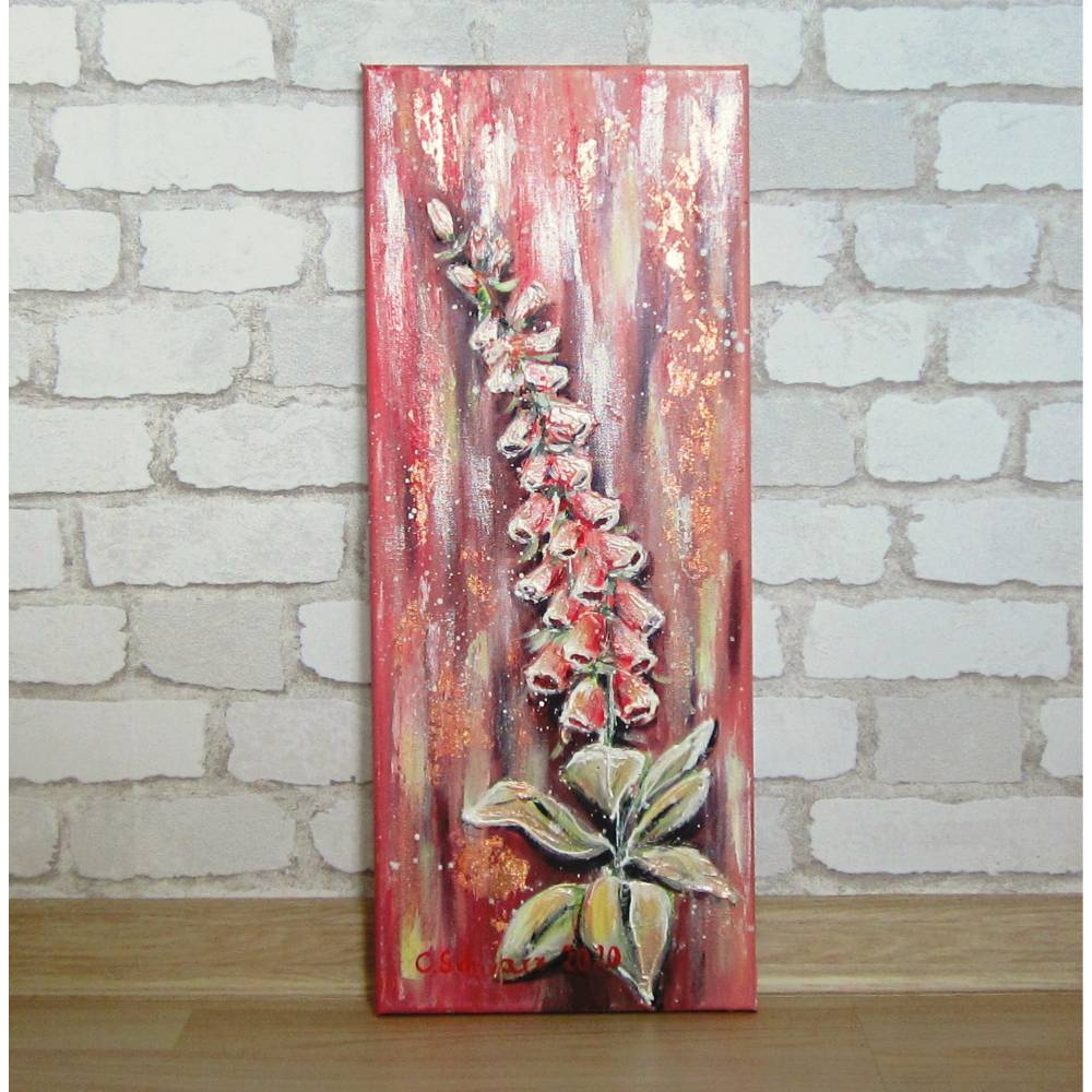 FINGERHÜTE 20cmx50cm - abstraktes Blumenbild mit Strukturpaste und rosegoldfarbigem Blattmetall Bild 1
