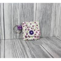 Chippi Chiptäschchen Lila Weiß Blümchen Shoppen Einkaufen Chip Schlüssel Schlüsselanhänger Bild 1