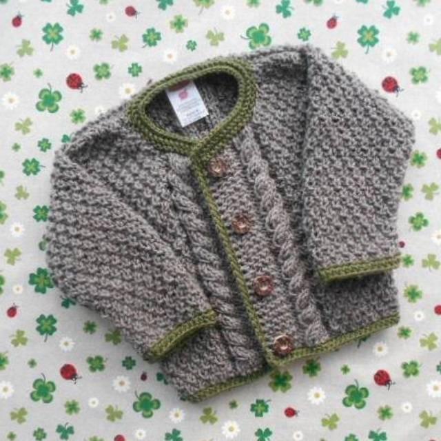 Trachtenjacke für Junge Größe 74/80 braun grün pullover mit zopfmuster strickjacke handarbeit geschenk geburt taufe Bild 1