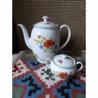 Vintage Kaffeekanne und Zuckerdose - Erntefest - Mohnblume Bild 1