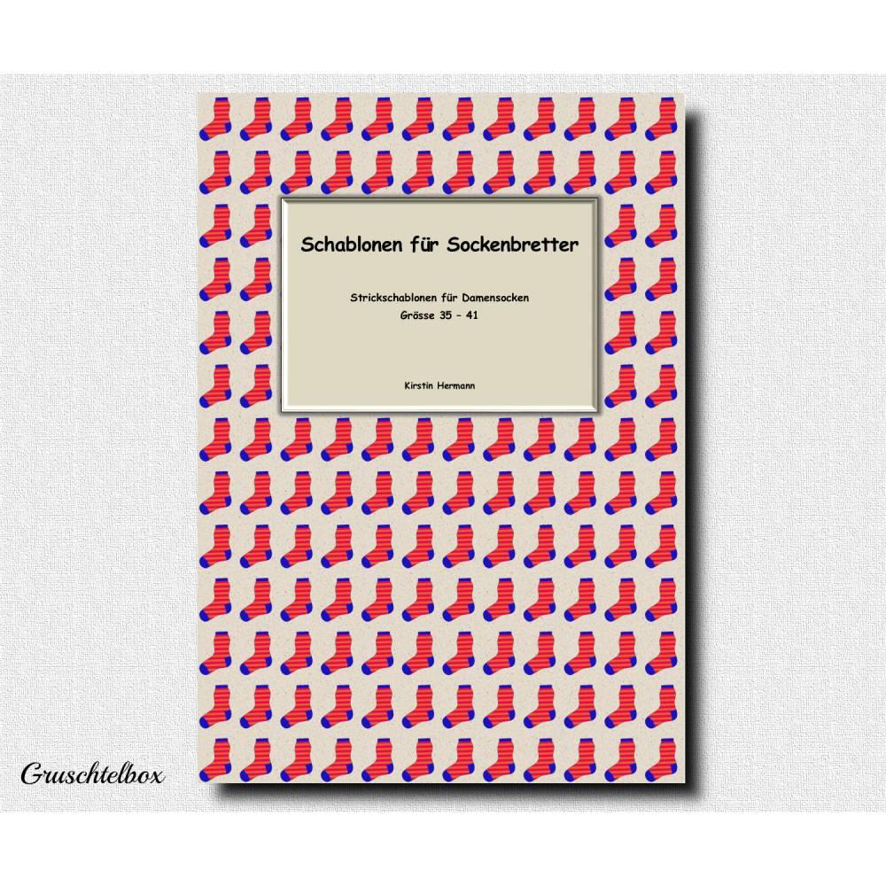 Schablonen für Sockenbretter, Strickschablonen für Damensocken, Grösse 35 - 41, PDF Datei Bild 1
