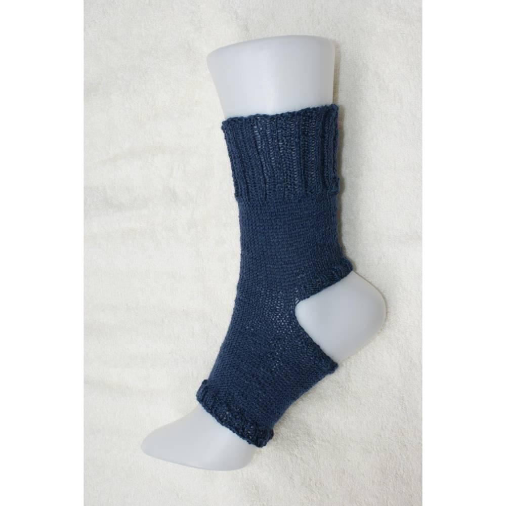 Pilates Yoga Socken ohne Ferse und Spitze, Sockenwolle dunkelblau Bild 1