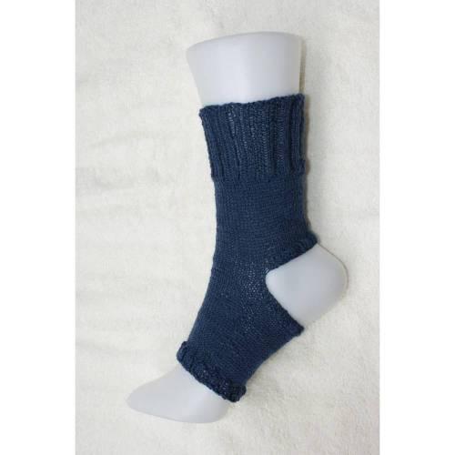 Pilates Yoga Socken ohne Ferse und Spitze, Sockenwolle dunkelblau