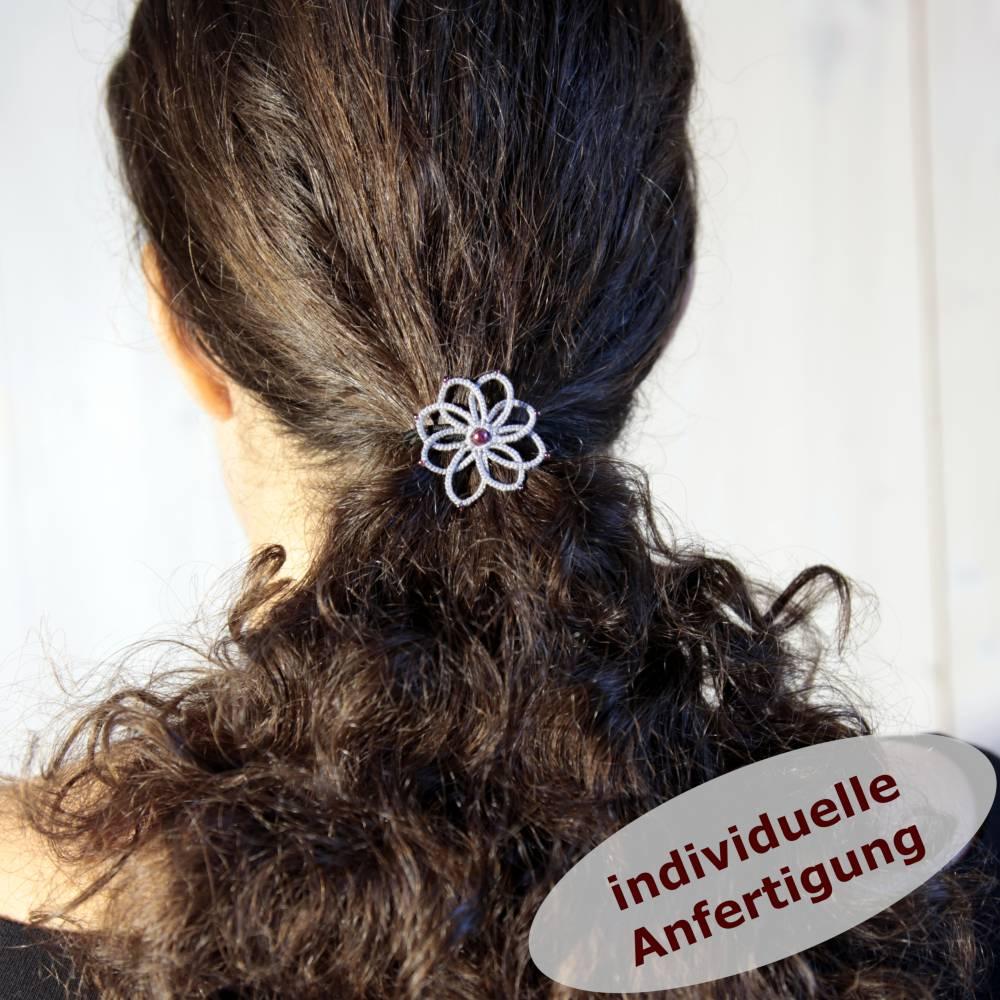 Haargummi Dahlia Baumwolle Glaswachsperle Rocailles INDIVIDUELLE ANFERTIGUNG Bild 1