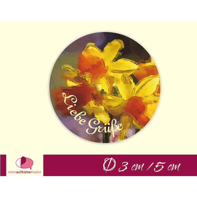 Aufkleber | Liebe Grüße - gelbe Narzisse - nach Aquarellart Bild 1