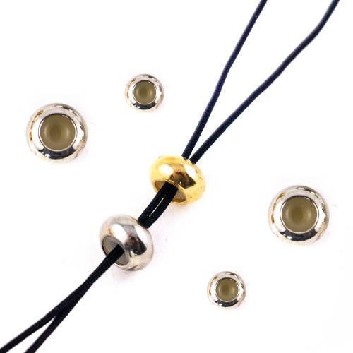 Perle Stopper Kordelstopper Schiebeperle Schmuck silber gold Silikon 7,5 mm 10x Silikonkern Armband Kette Größe fixieren