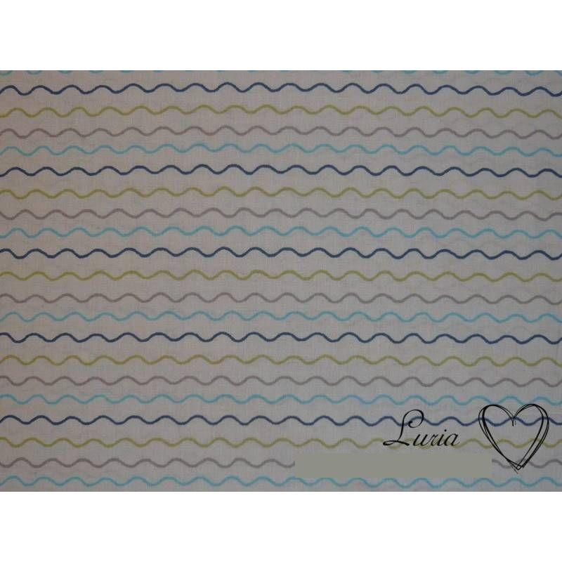 0,80m RESTSTÜCK Stoff Baumwolle Wellen bunt auf weiß Bild 1