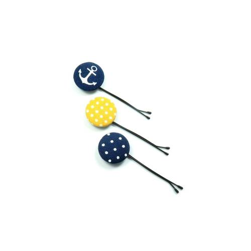 3er-Set Haarklammern Haarnadeln Anker Punkte blau gelb