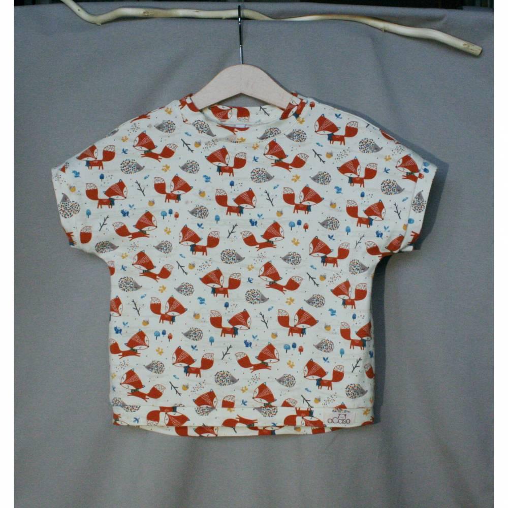 aCaso kurzarm T-Shirt aus weichem BIO Jersey mit süßem Design Fuchs und Igel von Stoffonkel Bild 1