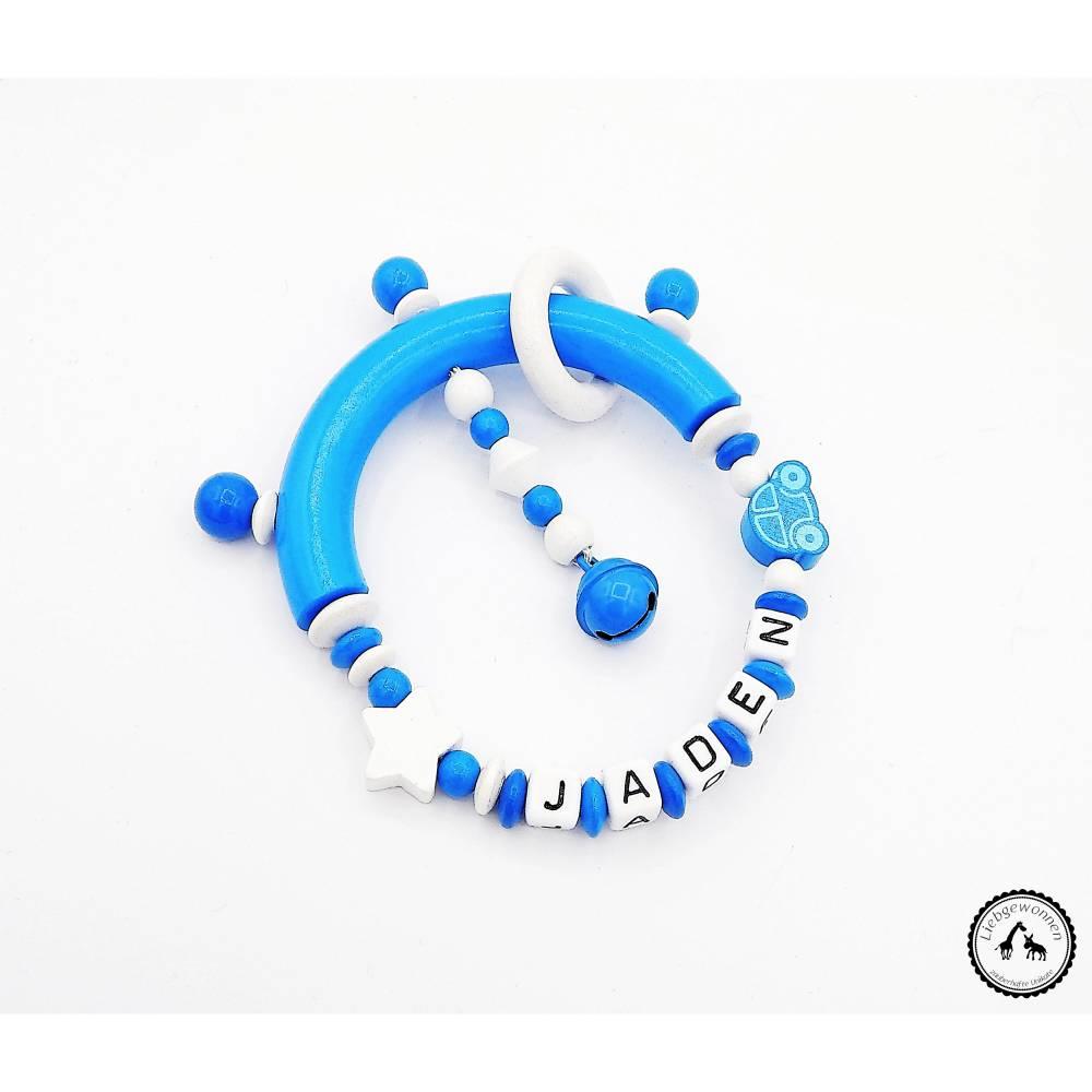 Greifling/Greifring mit Namen - Auto/Stern in blau/weiss Bild 1