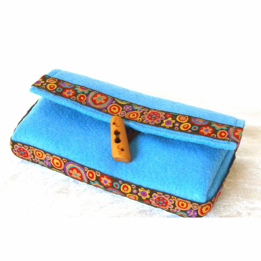 clutch kosmetiktasche schminktasche utensilo boho ethno filz türkis bunt mexikanisch unikat Bild 1