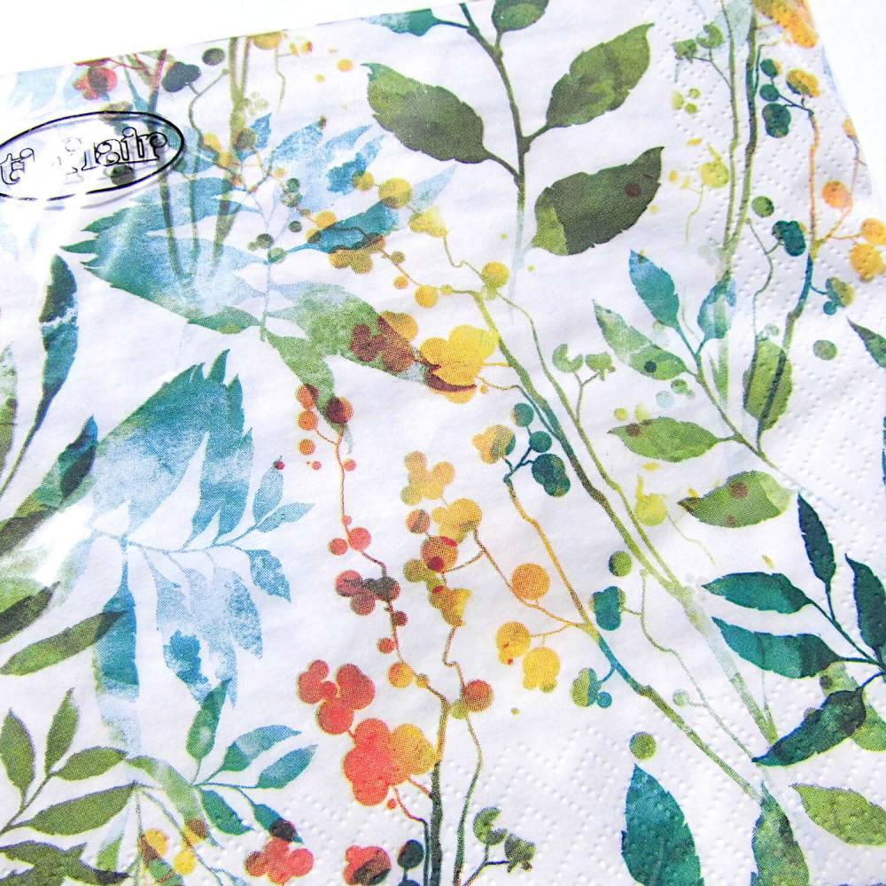 Papierservietten Boho Leaves & Herbs bunt Bild 1