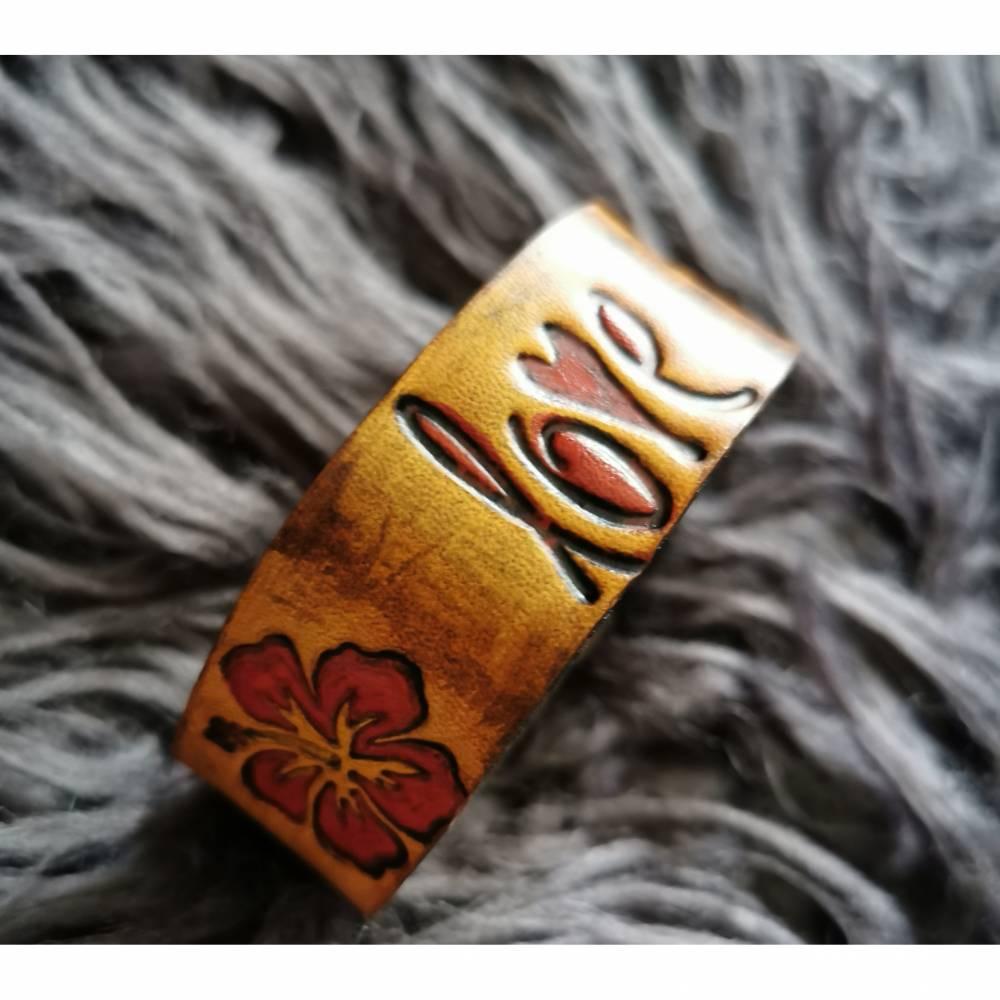 LEDER Armband  Love, handkolorierte Blumen (RLA30)) Bild 1
