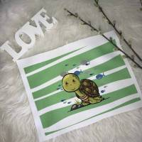 Schildkröte grün gestreift Panel  Polyester sublimiert  Bild 1
