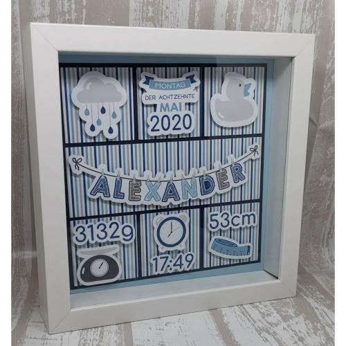 Personalisierbarer Babyrahmen - Geburt, Taufe, Geburtstag, Patengeschenk - Blau